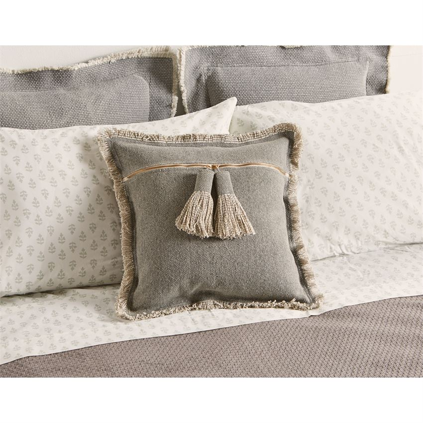 Mud Pie - GRAY DHURRIE TASSEL PILLOW ON BED