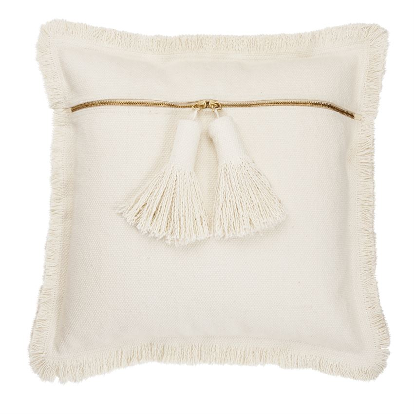 NATURAL DHURRIE TASSEL PILLOW
