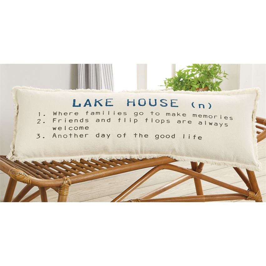 Mud Pie - LAKE HOUSE DEFINITION PILLOW shown on a rattan bench