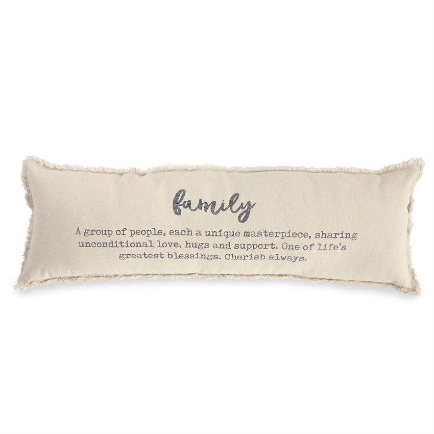 Mud Pie - FAMILY DEFINITION WASHED CANVAS FRAY PILLOW