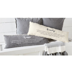 Mud Pie - FAMILY DEFINITION WASHED CANVAS FRAY PILLOW WITH HOME DEFINITION PILLOW