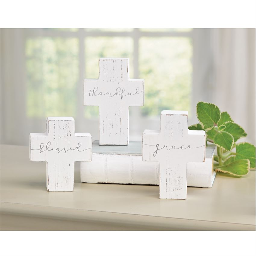 Mud Pie - Small Wooden Cross Sitters used in house decor