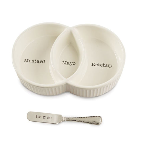 Mud Pie - CONDIMENT SERVING SET Mustard, Ketchup, Mayo - top it off