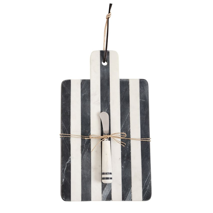 MUD PIE - PADDLE STRIPE MARBLE SERVING BOARD SET