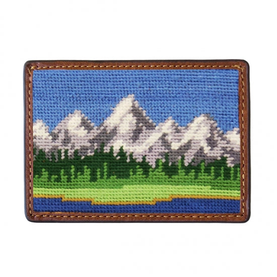 Smathers & Branson Needlepoint Card Wallet with the grand tetons. Has the blue sky and the lake in front of it.