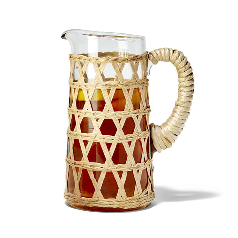 Island Chic Hand-Woven Lattice Pitcher (32 oz., hand wash only) - Glass/Paper Yarn