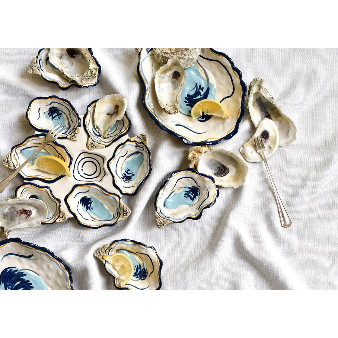 Coton Colors -  Oyster Shaped Plate  in groups with other oyster plates