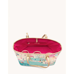 SPARTINA 449 - GULF COAST TOTE INSIDE VIEW WITH HOT PINK FABRIC
