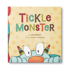 Tickle Monster view front cover with monster peeking over the bottom of the book