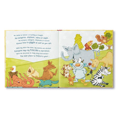Tickle Monster book inside view with all of his animal friends