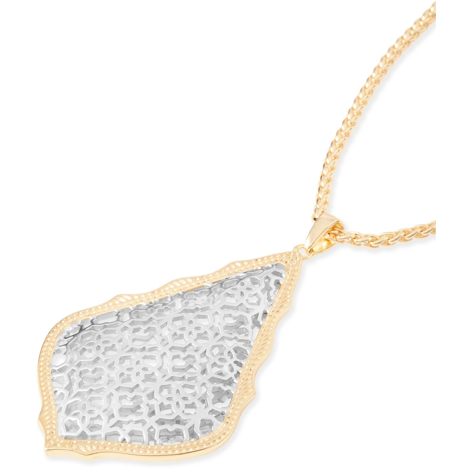 Kendra Scott -  Aiden Gold Long Pendant Necklace In Silver Filigree Mix