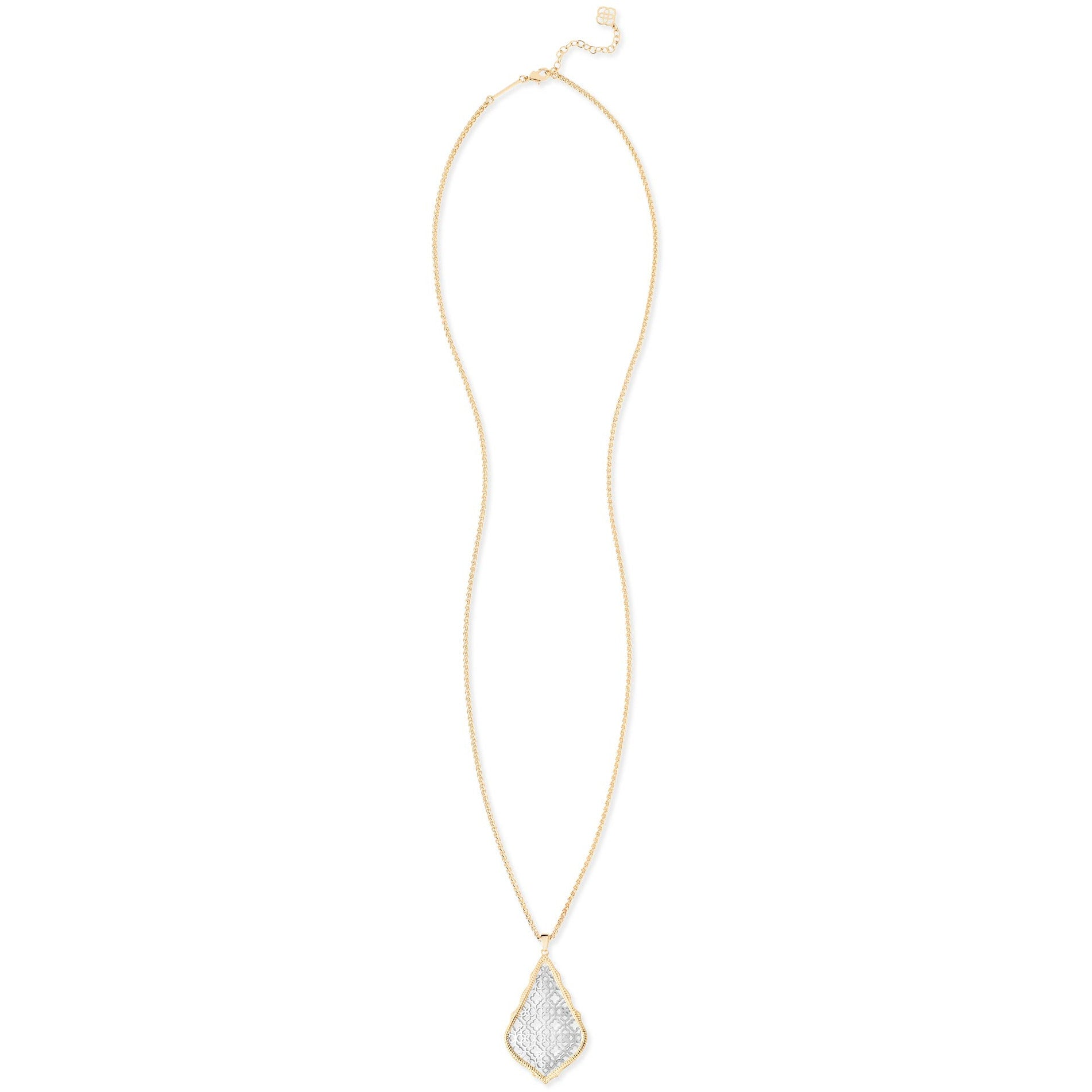 Kendra Scott -  Aiden Gold Long Pendant Necklace In Silver Filigree Mix FULL VIEW