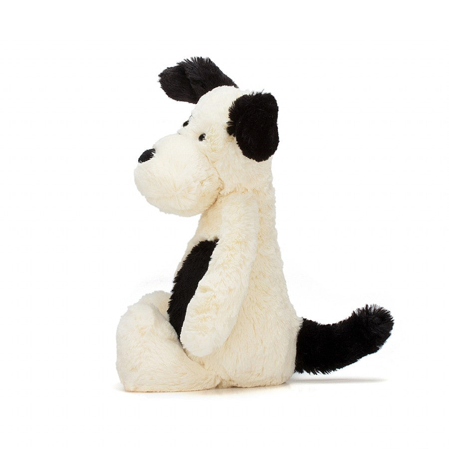 Jellycat Bashful Puppy black and cream side view