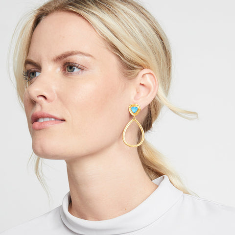 JULIE VOS - Barcelona Statement Earring - Iridescent Chalcedony Blue