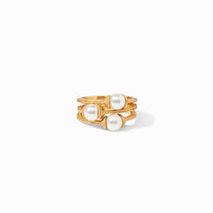 Julie Vos - Calypso Pearl Stacking Ring set of 3