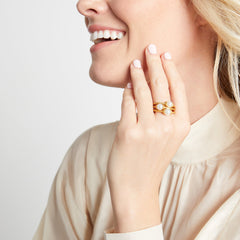 Julie Vos - Calypso Pearl Stacking Ring on model