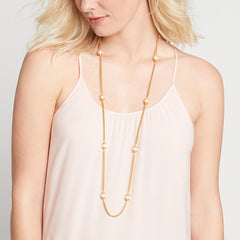 JULIE VOS - LONG Calypso Pearl Station Necklace