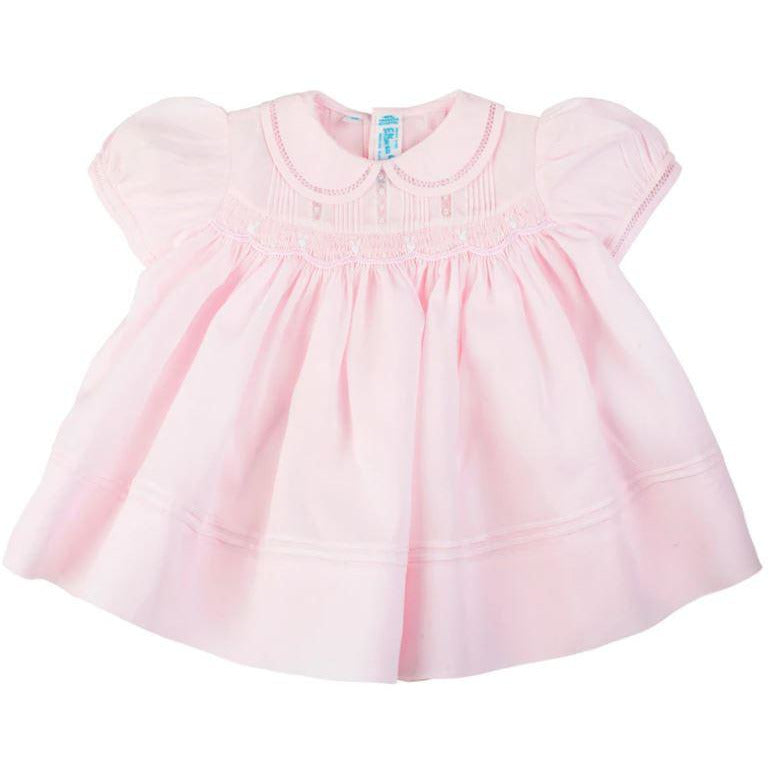 Feltman Brothers - Rosebud Detail Smocked Dress in Pink, Front View