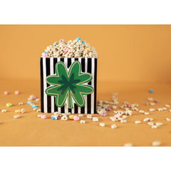 Happy Everything Mini Attachment - Four Leaf Clover on mini black and white striped cube