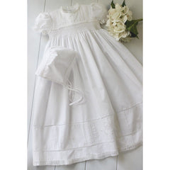Feltman Brothers Girls White Christening/Baptism Gown Smocked with Pearls
