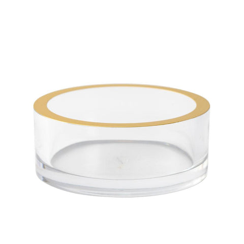 Caspari - Acrylic Wine Bottle Coaster in Clear with Gold Rim
