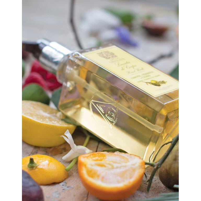 Antica Farmacista - 10OZ HAND AND BODY WASH  Lemon, Verbena & Cedar pictured on top of actual ingedients