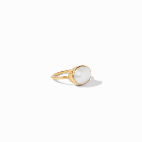Julie Vos - Honey Stacking Ring, Pearl Version Laid Flat