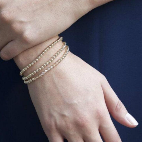 Enewton -  classic gold 4mm bead bracelet shown with stack