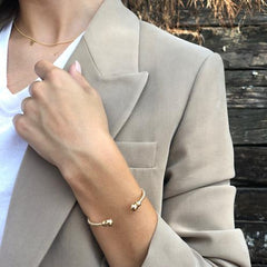enewton - bracelet-  Classic Gold 3mm Bead Cuff - Gold- shown on a model