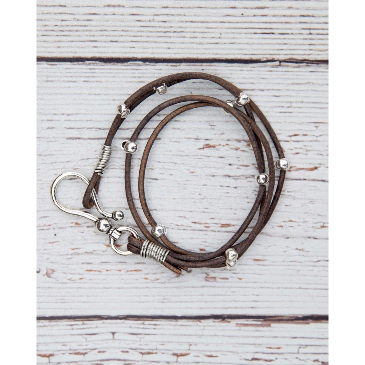 InspireDesigns grey distressed double leather hook wrap