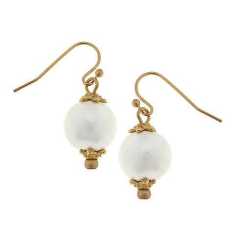Susan Shaw - Small Cotton Pearl Earrings