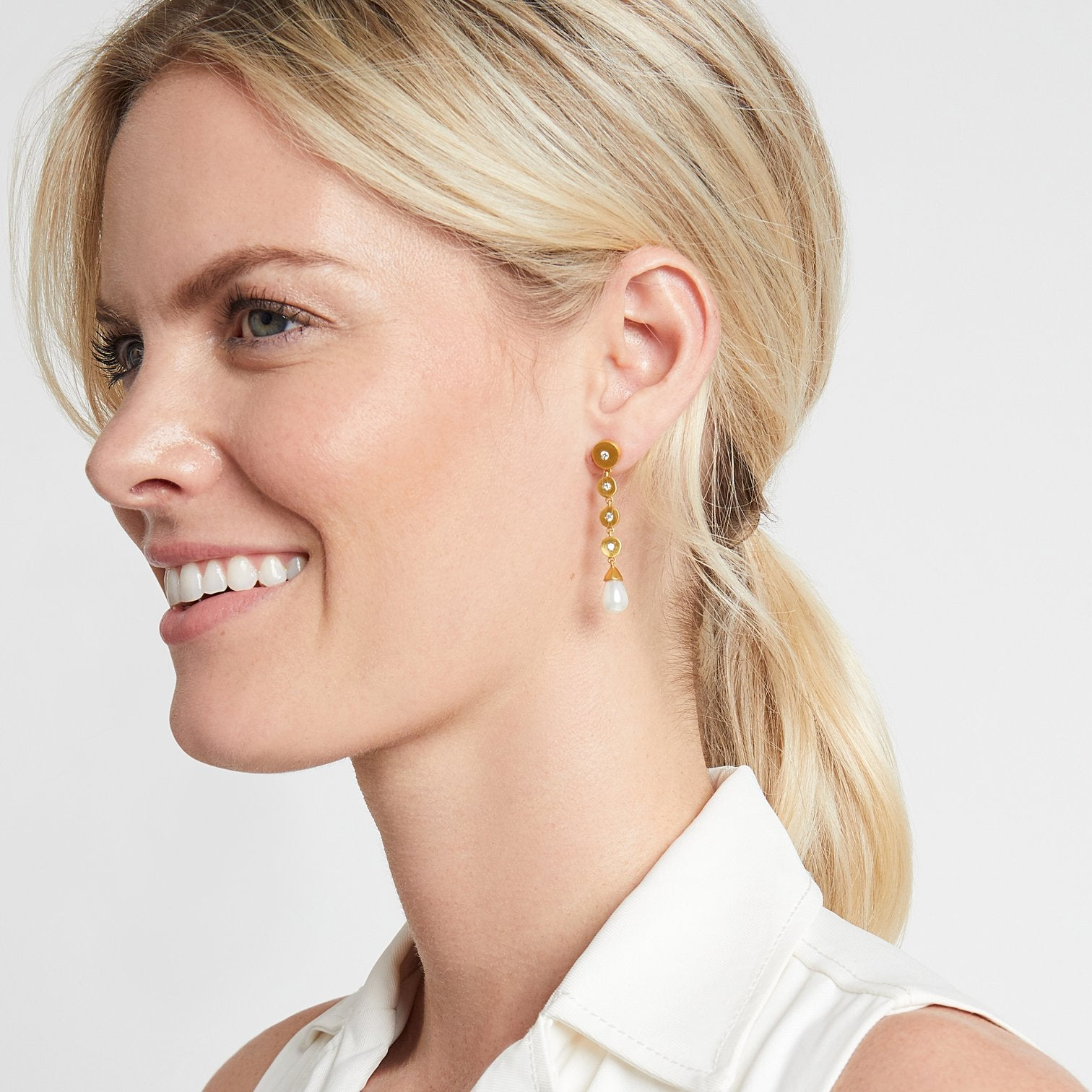 JULIE VOS - Poppy Statement Earring - Cubic Zirconia on model