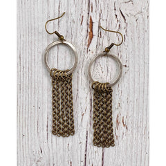 InspireDesigns - Chain Tassel Earrings, Laid Flat