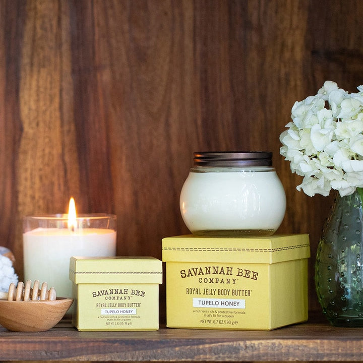 Savannah Bee Company - Tupelo Honey Body Butter® Original Formula shown in home setting