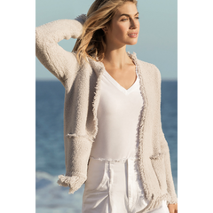 BAREFOOT DREAMS: the COZYCHIC® FRINGED JACKET -ALMOND