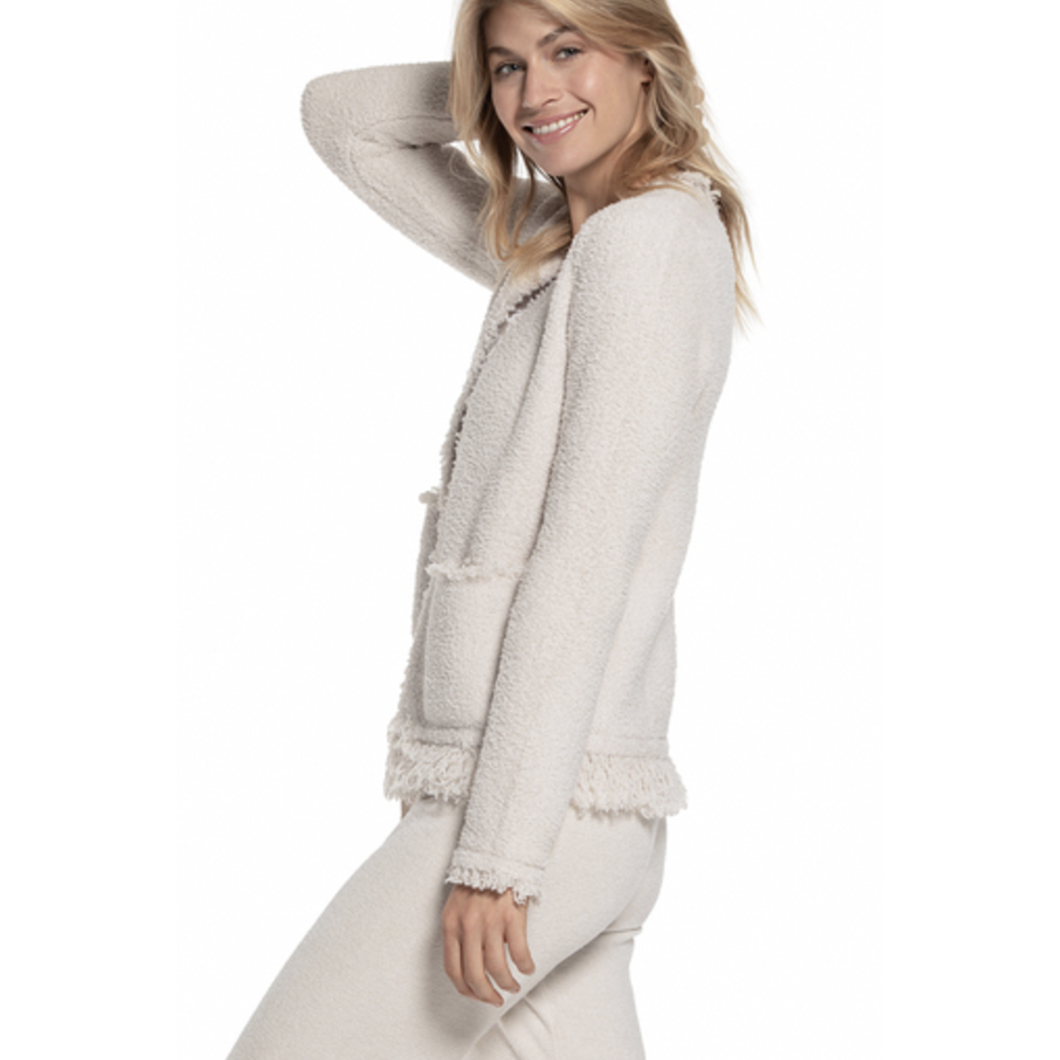 BAREFOOT DREAMS: the COZYCHIC® FRINGED JACKET -ALMOND SIDE VIEW