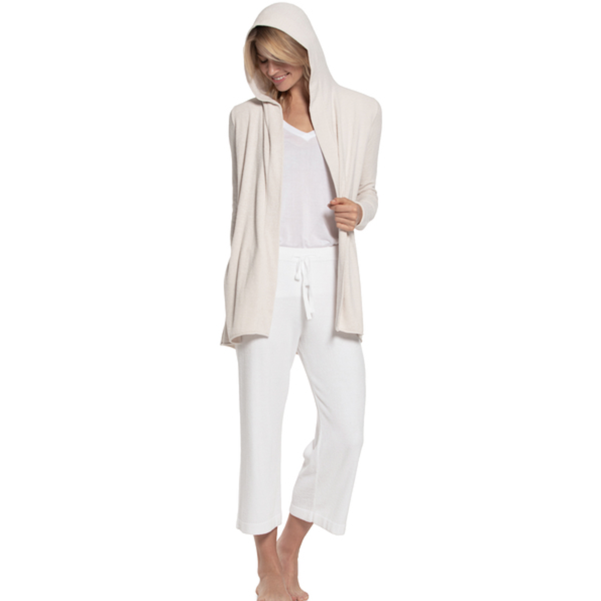 BAREFOOT DREAMS: the COZYCHIC ULTRA LITE® HOODED CARDI - SAND DUNE