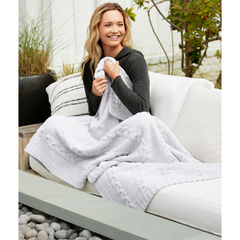 BAREFOOT DREAMS: the COZYCHIC® HEATHERED CABLE BLANKET - OYSTER