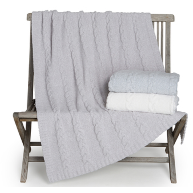 BAREFOOT DREAMS: the COZYCHIC® HEATHERED CABLE BLANKET SHOWN OYSTER, PEARL, OCEAN
