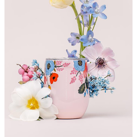 Corkcicle  - Rifle Paper Co. Stemless Wine Cup LIVELY FLORAL BLUSH