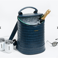 shown in use - Corkcicle - EOLA BUCKET BAG - Navy Croc