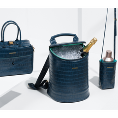 Corkcicle - EOLA BUCKET BAG - Navy Croc shown with sling and balhwin lunch box
