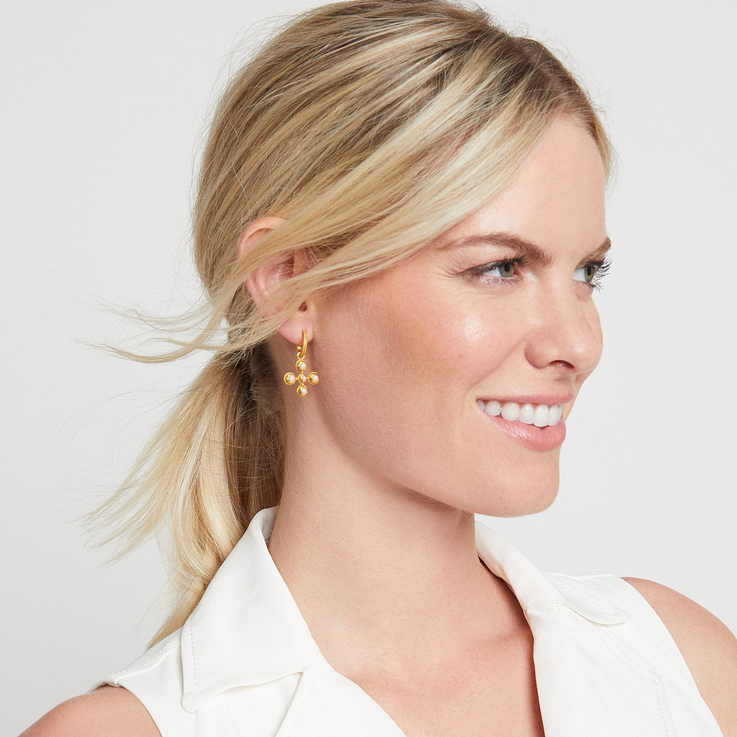 JULIE VOS - Somerset Hoop & Charm Earring on model