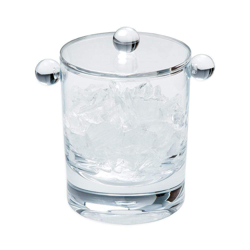 Caspari - Acrylic 60oz Ice Bucket & Lid in Crystal Clear, Front View
