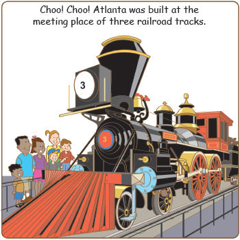 GOOD NIGHT ATLANTA inside page of book which reads: Choo! Choo!! Atlanta was built at the meeting place of three railroad tracks.