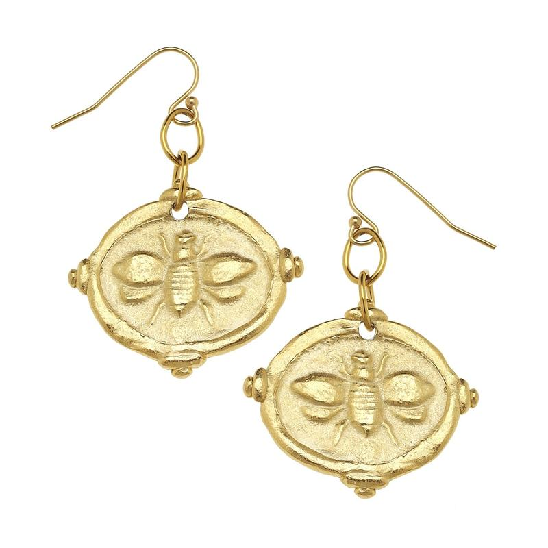 Susan Shaw - Bee Intaglio Earrings