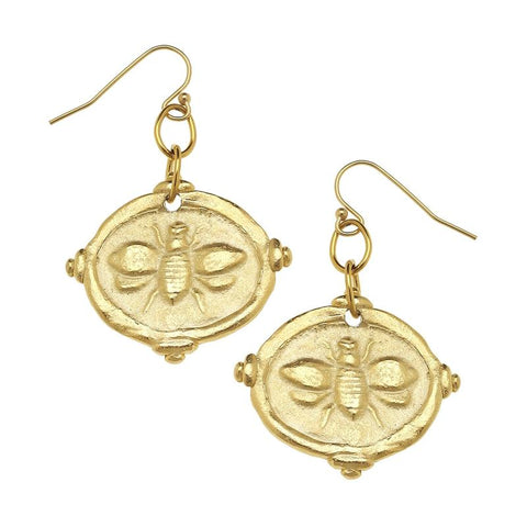 Susan Shaw - Gold Bee Intaglio Earrings