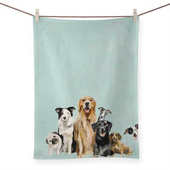 Best Friends - Puppy Pack Tea Towels with mint green background