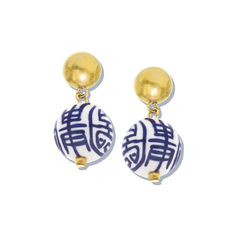 Susan Shaw - Blue & White Porcelain Drop Earrings