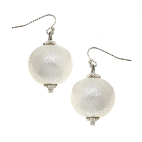 Susan Shaw White Cotton Pearl Earrings - Silver